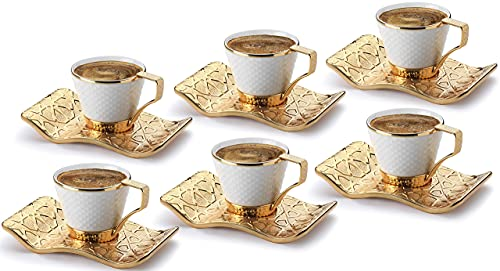 DEMMEX Stunning Espresso Turkish Coffee Cups with Metal Holders and Saucers Set for 6, 2.6 Ounces (White - Gold)