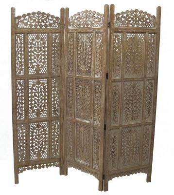 Saharashop Indian Wooden Screen / Room Divider / Privacy Screen 4 Oriental...