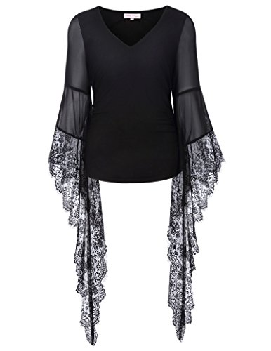 Womens Victorian Gothic Lace Long Sleeve Blouse T-Shirt Tops V-Neck Black XL