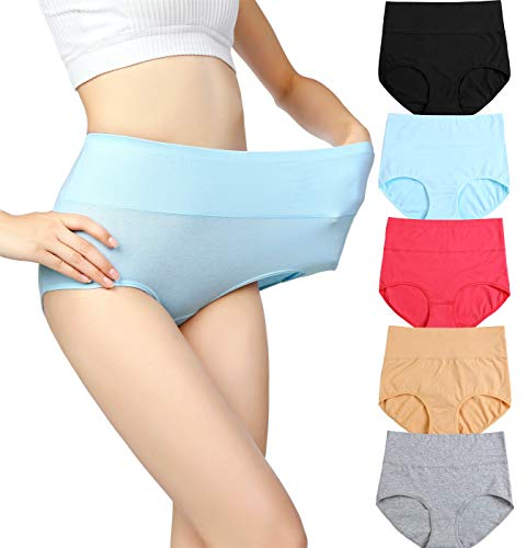 cauniss Womens High Waist Cotton Panties C-Section Recovery Postpartum Soft Stretchy Full Coverage Underwear(5 Pack) (L)