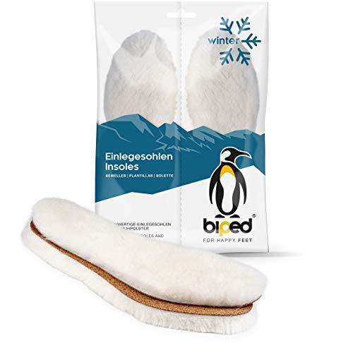 biped Premium Lammfell Einlegesohlen aus weißem Naturfell mit Kork Unterseite - extra dick und wärmend - ideal für derbes Schuhwerk, Boots und Winter Stiefel z1023(46-47)