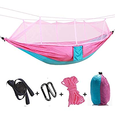 TOPCHANCES Camping Hammock with Mosquito Net, Double Hammock Hold Up to 440lbs,Portable Nylon Hammock for Relaxation,Traveling,Beach,Yard (Pink)