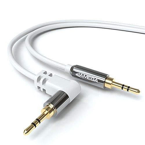 JAMEGA – 2m AUX Kabel Weiß | Stereo Audio Klinkenkabel 3,5mm Klinkenstecker 90° gewinkelt auf 3,5mm Klinkenstecker kompatibel mit Kopfhörer, Echo Dot, Heim/Auto Stereoanlage, iPhone, iPad, UVM.