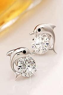 Unique Dolphin Diamond Earrings earings Dangler Eardrop Fashion Star Silver Ladies Fashion Tide Models