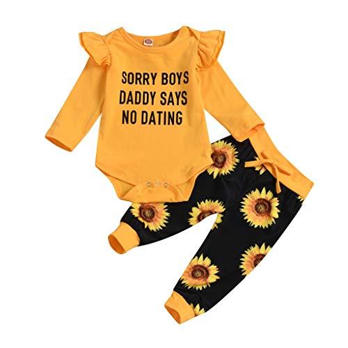 Baby Mädchen Kleidung Set Langarm Babybody Brief Gedruckt Romper Strampler + Sonnenblumen Hosen + Stirnband Bekleidungsset, Gelb, 18-24 Monate