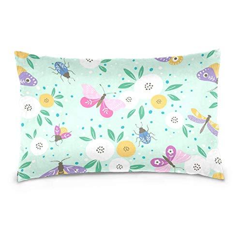 AEMAPE Mariposas Multicolores Throw Pillow Cover Funda de cojín Funda de Almohada Decorativa con Cremallera Invisible 50X75 Cm