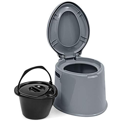 Goplus WC Portabile, 5 L, Portata 200 kg, Toilette Portatile con Secchio Contenitore, Toilette da Campeggio e Viaggio, per Anziani, per Donne in Gravidanza, con portarotolo, 49 x 41 x 35 cm