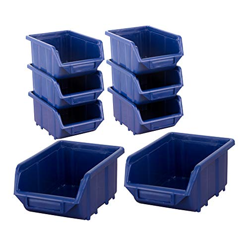 BigDean Stapelboxen Set 8 Stück Blau klein 110x165x75mm - Kunststoff Sichtlagerkasten stapelbar - perfekt für Ordnung in Werkstatt & Garage