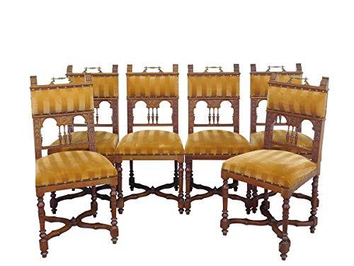 6 antike Stühle Historismus um 1900 aus Eiche mit rötlichen Stoff | Polsterstühle Esszimmerstühle (9681)
