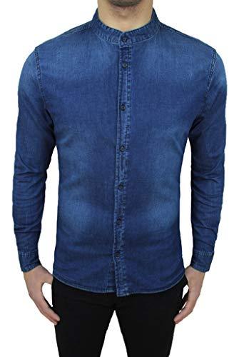 Mat Sartoriale Camicia di Jeans Uomo Blu Denim Slim Fit con Colletto alla Coreana (L, Blu Scuro)