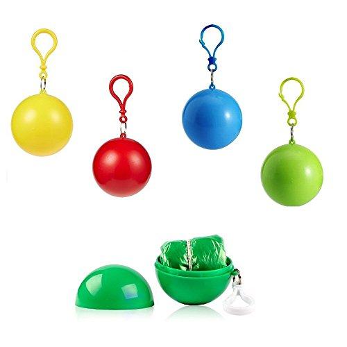 SwirlColor Poncho Ball Regenumfang, Einweg Notfall Regenmäntel Portable Haken Regenmantel Ball für Aktivitäten im daraußen, 4 je Set