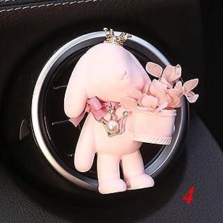 XKMY Désodorisant pour voiture - Lapin à oreilles de lapin tenant des fleurs - En plâtre - Pour aromathérapie - Nom de la ...
