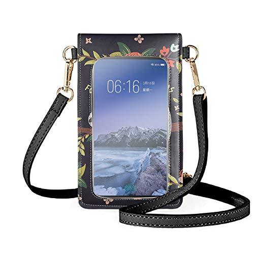 Sapotip Linda impresión perezosa mujer pantalla táctil Crossbody bolso de mano, bloqueo RFID, pequeño bolso de hombro para teléfono cartera