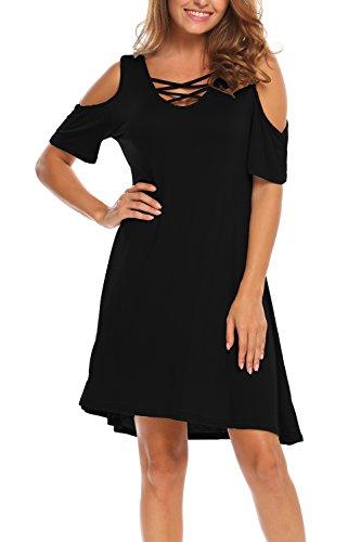 Bluetime Women A-Line T-Shirt Sundress Vocation Beach Mini Swing Dress (XL, Black)