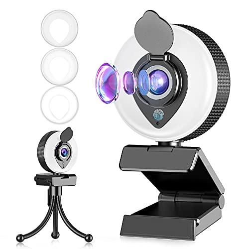 Tisoutec Webcam e Treppiedi, Full HD 1080p Webcam USB con Microfono,Luce ad Anello Regolabile, Copriobiettivo, per Zoom Skype Facetime Teams,PC,Mac,Laptop,Desktop