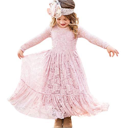 Vestidos de Flores para Bodas Vestido de Encaje de Flores para niñas Vestido de Flor Blanca Vestido de Dama de Honor Bautizo con Lazo Grande (Rosa, 12-13Año Viejo(155cm))