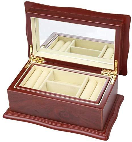 Cajas de pecho de joyería Caja de joyería de madera Alta capacidad con espejo 2 capas Organizador de joyería para pendientes Anillos Collares Cajas de exhibición de joyas para niñas mujeres