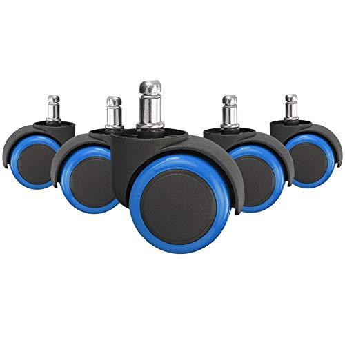 Amstyle Lichtlopende wieltjes voor harde vloeren, 5-delige set, voor bureaustoel 11 mm stift, diameter 50 mm, blauw, draaistoelwielen