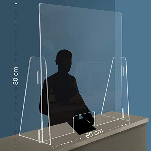 Q&b Grafiche PPF Parafiato parasputi da banco in plexiglass con apertura, 80x80 centimetri