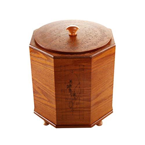 Poubelle- Petite poubelle en bois avec couvercle, plastique à pédale pour le bureau de toilette de cuisine (Color : B, Size : 5L)