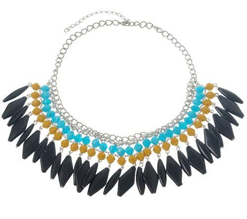 Behave Ibiza statement ketting - halsketting met vele stenen - bonte halsketting - damessieraad