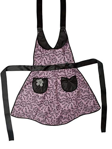 VIGAR Lulu Lace Tablier, Tissu, Bandes et Poches : 95% Polyester, 5% PU Reste : ABS, PVC Friendly, Couleur : Rose et Noir, Dimensions : 80 x 0,2 x 105 cm