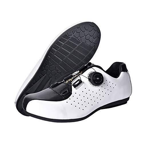 HNBSTST Lockless Fahrradschuhe Für Herren, Atmungsaktives Obermaterial Aus Leder, Drehbare Schnürsenkel, Indoor-Fahrradschuhe Für Bergstraßen