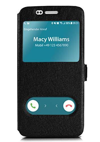 moex Klapphülle in Lederoptik inkl. Sichtfenster kompatibel mit Samsung Galaxy S7 | Integrierte Standfunktion + Magnetverschluss, Schwarz