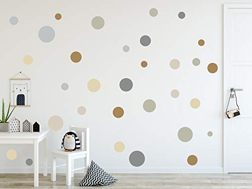 timalo® 120 Stück Wandtattoo Kinderzimmer Kreise Pastell Wandsticker – Aufkleber Punkte | 73078-SET2-120