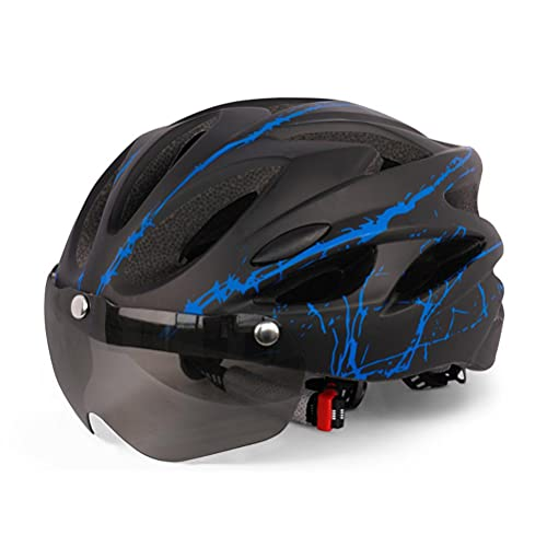 Tenwan Bike Helmet for Adults, Adjustable Cycle Bicycle Helmet(54-64 cm), Mountain Lightweight Breathable Cycling Helmet with Magnetic Visor for Men Women Youth