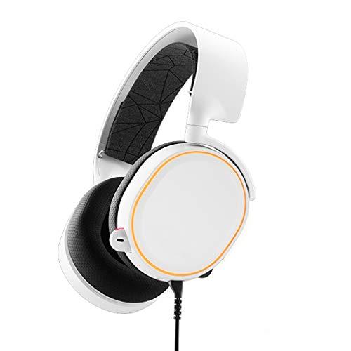 Liutao 7.1 canaux Headphones RGB Head-Mount Gaming Headset de réduction de Bruit Subwoofer avec Microphone (Color : White)