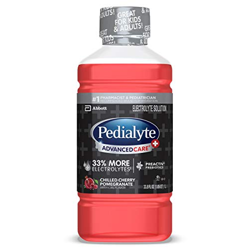 Pedialyte AdvancedCare Plus Electrolyte Drink, 1 Liter, 4 Count, with 33% More Electrolytes and has PreActiv Prebiotics, Chilled Cherry Pomegranate