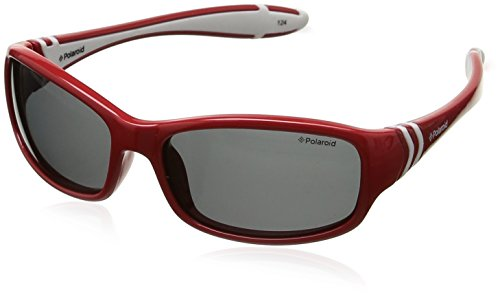 Polaroid Unisex-Kinder PLD 8000/S Y2 T15 50 Sonnenbrille, Rot (Red White/Grey)