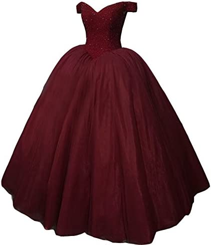 Kivary Heavy Beaded Off Shoulder Long Prom Dresses Formal Quinceanera Evening Ball Gown Burgundy product image