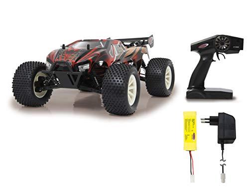 Jamara 059738 Brecter Truggy 1:10 4WD NiMh 2,4 GHz LED-spatwaterdicht, differentiaal/golf/as van staal, oliedrukdemper, vuilafstotend en ingekapselde transmissie, krachtig stuurmechanisme, zwart
