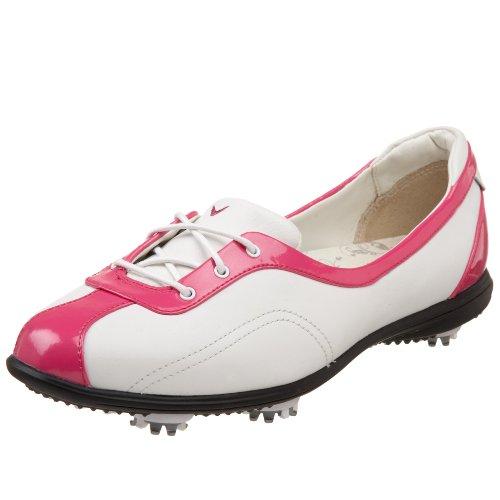 Callaway Women's Half Lace Golf Shoe,White/Fuchsia Patent,US Women's 5.5 M