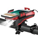 ZLDM 4 in 1 Fahrrad Licht, USB Wiederaufladbar Fahrrad LED Scheinwerfer, DREI Beleuchtungsmodi Können als Fahradlicht, Handyhalterung, Fahrrad Lautsprecher, Mobilstrom (4000 mAh) Verwendet Werden