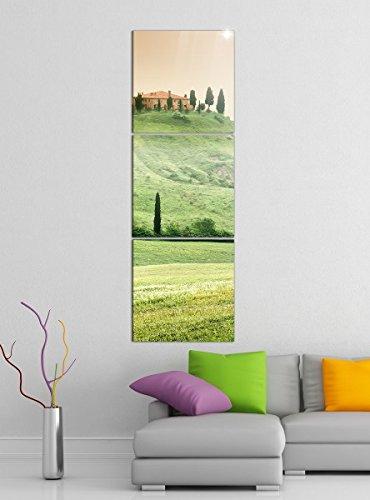 Acrylglasbilder 3 Teilig 50x150cm Landschaft Toskana Italien Haus vertikal Druck Acrylbild Acrylbilder Acrylglas 14?6729, Acrylgröße 9:Gesamt 50x150cm