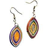 Leaf Shape Earrings Made From Magazine Paper...