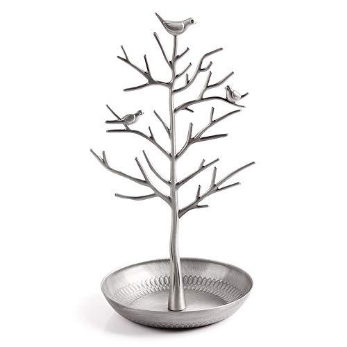 Absir Soporte de exhibición de acero inoxidable con forma de árbol, joyería para pendientes, collar colgante de plata pálida