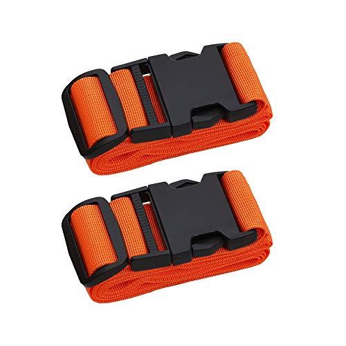 Adjustable Travel Luggage Strap, Nylon Suitcase Luggage Belt Tage Set to Keep Your Luggage Organized and Secure, 43'-78' Adjustable (2Orange)