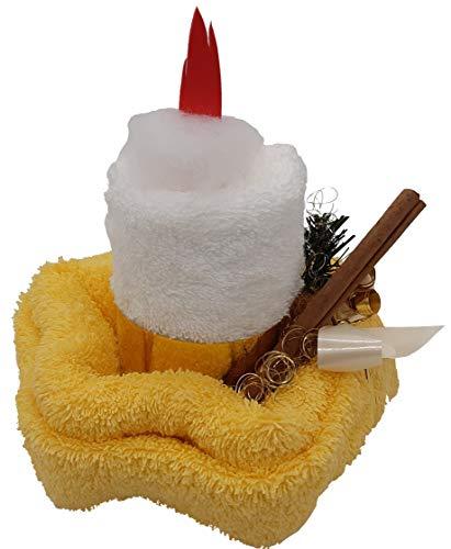 Frotteebox Geschenk Set Kerze in Handarbeit geformt aus 2X Gästetuch weiß/gelb