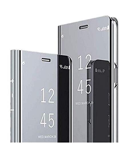 Jancyu kompatibel mit Hülle Huawei P30 Pro Spiegel Schutzhülle Huawei P30 /P30 Lite Hart Handy Case 360-Grad-Schutz Flip Electroplate Stand Ledertasche (Silber, Huawei P30 Lite)