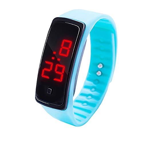 para Mujeres de Las señoras Pantalla LED Digital Pulsera de Silicona Los niños Reloj electrónico (Negro) (Color : Light Blue)