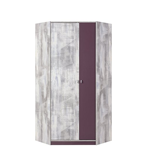 Eckkleiderschrank Zoom ZM02, Schrank, 2 Türiger Eckschrank mit 5 Einlegeboden und 2 Kleiderstange, Jugendschrank, Jugendzimmer