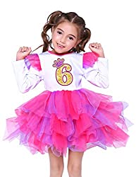 No6 White Long Sleeve Birthday Party Dress with Mesh Skirt