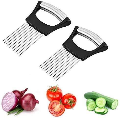 Food Slice Assistant Onion Holder Slicer - Stainless Steel Vegetable Holder Tomato Slicer Meat Slicer, Cutting Kitchen Gadget Onion Cutter,Kitchen Gadgets kitchen Utensil Holder(2Pcs Black)