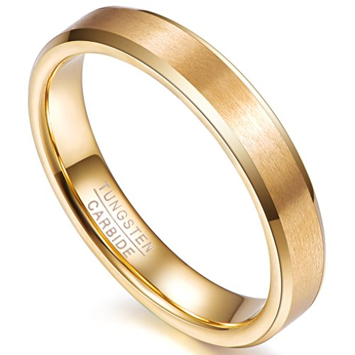 NUNCAD Damen Ring Gold galvanisiert Wolfram, gebürstete Verarbeitung und polierte Innenseite, Comfort Fit Design, Partnerring, Ring zum Jahrestag, Größe 54
