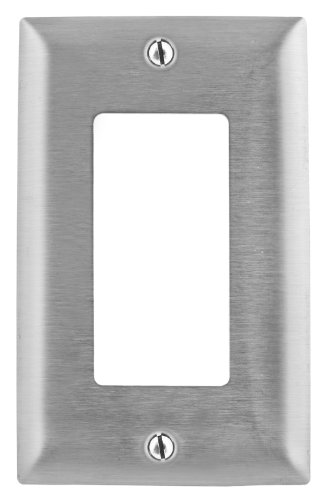 Bryant Electric SS26 1-Gang 1 Decorator/GFCI Opening 302/304 Metallic Wall Plate, Stainless Steel, With Removable White Protective Film