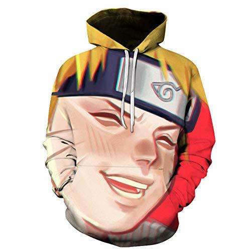 HYCR Sudadera de anime Naruto para hombre y mujer, con capucha impresa en 3D, con bolsillos, disfraz de cosplay de moda, ropa de calle Q7-5XL